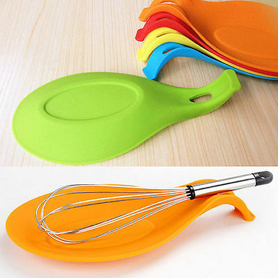 Silicone Heat Resistant Spoon Fork Mat Rest Utensil Classic Holder Kitchen Tool