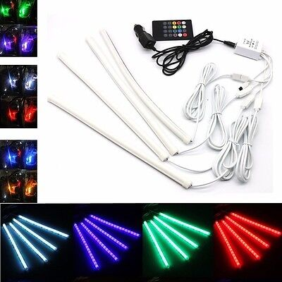 4x 12v car interior rgb color 9 led strip light wireless music phone app control. Black Bedroom Furniture Sets. Home Design Ideas