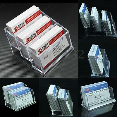 1/2/3 Tier Clear Plastic Business Card Holder Display Stands Shelf Desktop Case