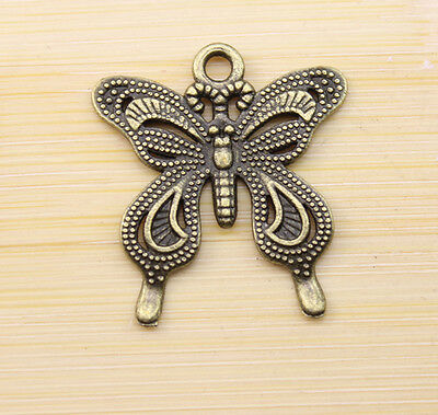 15/30/100 pcs Retro style lovely  butterfly bronze charms Pendants  28x25 mm