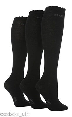 3 Pairs Girls Elle Over The Knee Socks Black Size 4-5.5 Uk, 37-38.5 Eur