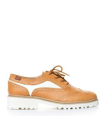 Mustang - Zapatos New Oxford camel, blanco