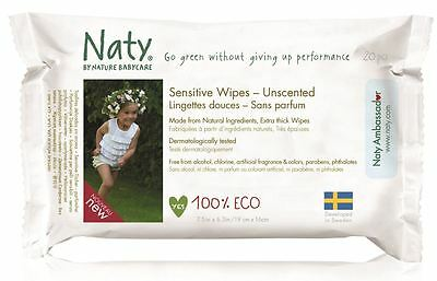 Naty by Nature Babycare Sensitive Travel Wipes 170g (Pack of 12)