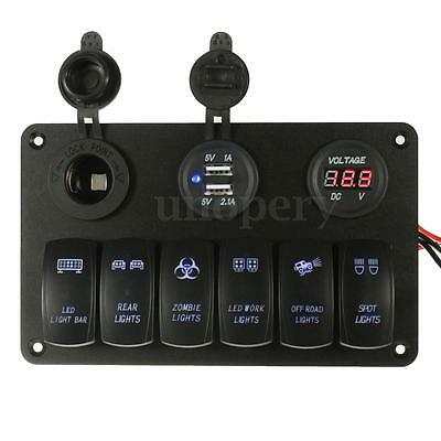 Marine Boat 12/24V 6 Gang / Way LED Rocker Switch Panel Circuit Breakers Charger