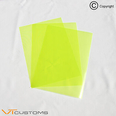 3 x A4 sheets - Fluorescent Yellow Headlight Film for Fog Lights Tint Car Vinyl