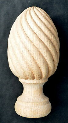 """Unique Solid Oak Hand Carved Stair Newel Post Spiral Cap, 9"""" high"""