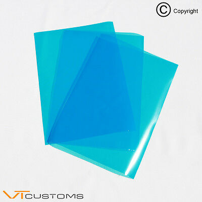 3 x A4 sheets - Medium Blue Headlight Film for Fog Lights Tint Car Vinyl Wrap