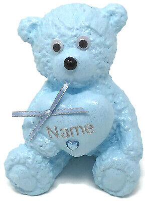 Personalised Grave Memorial Ornament Teddy Bear Baby Blue Boys Cemetery Tribute