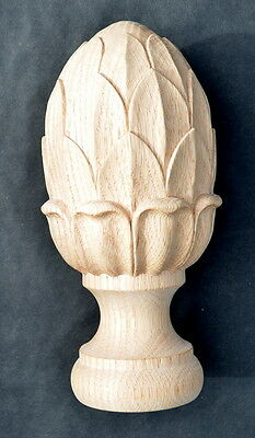 "Unique Large Hand Carved Solid Oak Newel Post Acorn Cap, 9"" High 4.4"" Diameter"
