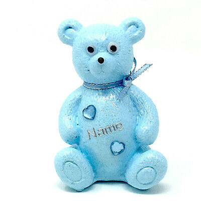 Personalised Grave Memorial Ornament Baby Blue Teddy Bear Boys Cemetery Tribute