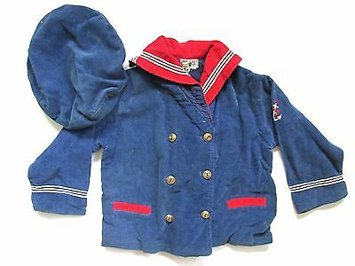 Vtg 50s Jack & Jill Togs RWB Corduroy Sailor 2-Pc Suit Jacket US Navy Cap Anchor
