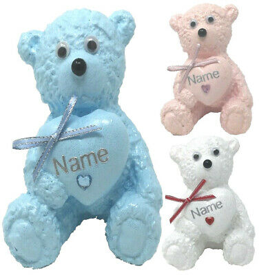 Personalised Grave Memorial Ornament Teddy Bear Pink Blue White Cemetery Tribute