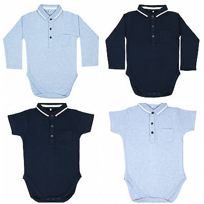 new polo collar long or short sleeve baby vests, grow, romper, 0-24 months