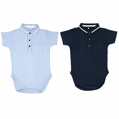 new navy & sky blue short sleeve polo collar baby vests grow romper 0-24 months