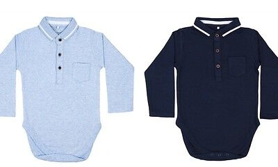 new navy & sky blue long sleeve polo collar baby vests grow romper 0-24 months