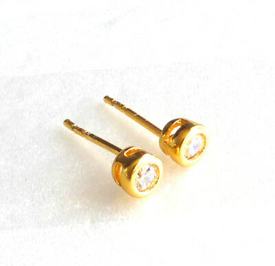 Men 24K Yellow Gold Plated Clear CZ Cubic Zirconia Small Tiny Stud Earrings 4mm