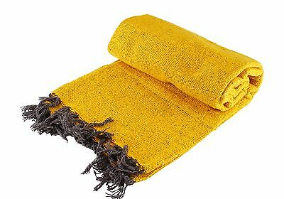 Large Yellow Hand Woven Mexican Blanket Solid Color Yoga Mat Authentic NEW