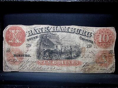 1857 $10 Obsolete Bank-Note ✪ Bank Of Hamburg ✪ South Carolina Sc ◢Trusted◣
