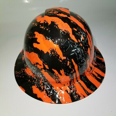 Hard Hat FULL BRIM custom hydro dipped , OSHA approved NEW URBAN CAMO HI VIS