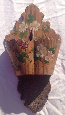 Antique Victorian Wood Paper Mâché Matchstick Holder Wall Mount Hand Painted