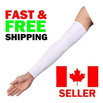 White Arm Sleeves Pair UV & Thermal Protection for Biking Cycling Hiking Golfing