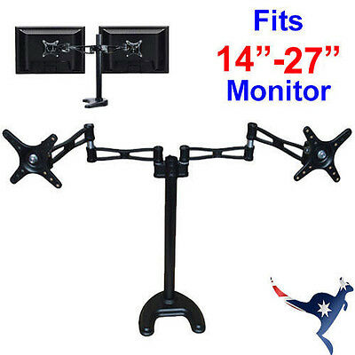 """Dual  14""""-27"""" LCD Mount Monitor Stand - 2 Arms Hold 2 LCD Screens"""