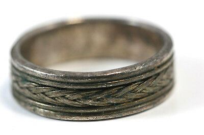 B740 Braided Sterling Band Ring vintage 6.8g 925 size 10 1/4