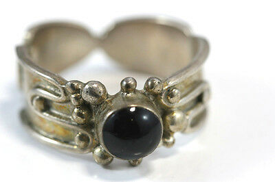 "B748 Onyx Wide Band Sterling  5.4g 925 Ring 1/4""W band size 10"
