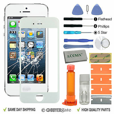iPhone 5s 5c 5 Genuine Front Glass Screen Replacement Repair Kit White+LOCA glue