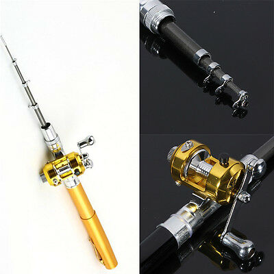 Distinct  Mini  Pocket Fish Pen Shape Aluminum Alloy Fishing Rod Experience Life