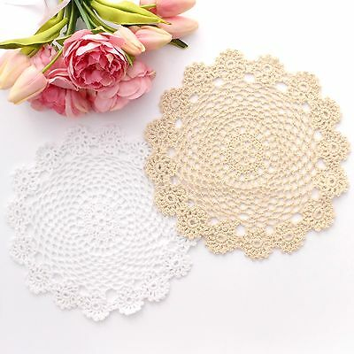 Crochet doilies white and cream 24 cm for millinery and crafts