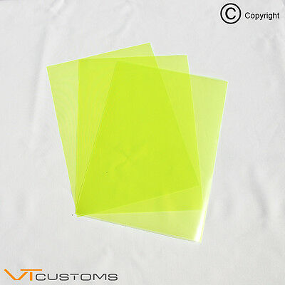 3 x A5 sheets - Fluorescent Yellow Headlight Film for Fog Lights Tint Car Vinyl