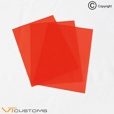 3 x A5 sheets Red Headlight Tinting Film for Fog Lights Smoke Car Vinyl Wrap