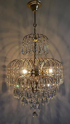 Antique Vintage Waterfall Style Brass & Crystals Chandelier