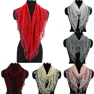 Women's Crochet Paisley Floral Lace Tassel Solid Color Ladies Triangle Scarf New