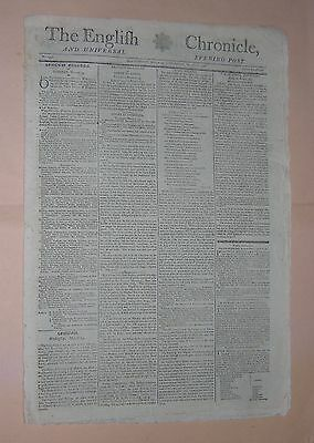 1798. NEWSPAPER. THE ENGLISH CHRONICLE AND UNIVERSAL EVENING POST. MARCH 13th