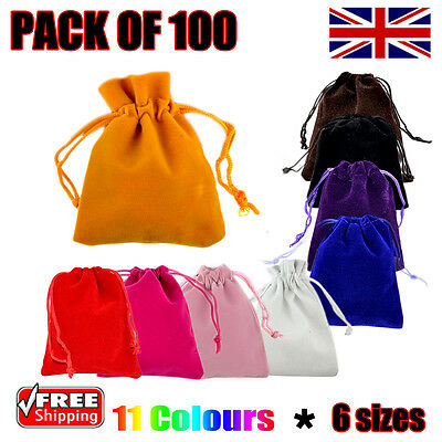 100 x Velvet Gift Pouches Wedding Bags Jewellery Pouch in 11 Colours & 6 Sizes