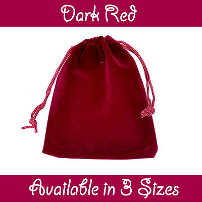 Dark Red Velvet Gift Pouches Wedding Favour Bags Jewellery Pouch In 3 Sizes