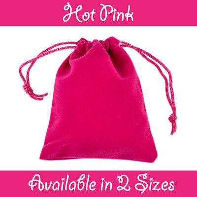 Hot Pink Velvet Gift Pouches Wedding Favour Bags Jewellery Pouch In 2 Sizes