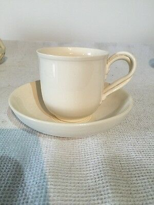 Leedsware Classical Creamware Entwined Handle Coffee Can And Saucer