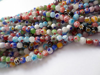 30 x Glass Millefiori Beads - Round - 6mm - Mixed Colour