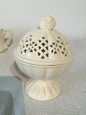 Royal Creamware Occasions - Lidded Pedestal Bowl with Heart Shaped Cut Outs