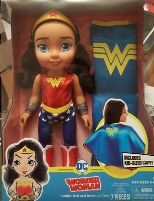 DC Super Hero Toddler Doll Wonder Women Includes Kids Sized Cape Toys 7 Pieces