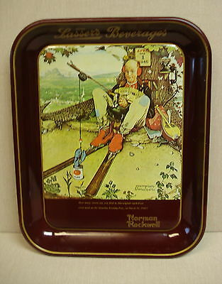 Lassers Beverages (Chicago) Advertising Serving Tray, Rockwell April Fools, 1977