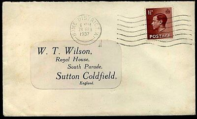 1937 KEVIII 1½d Brown 'HOME DISTRICT W' Paddington London
