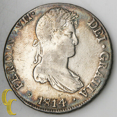 1814-JP HJ Peru 8 Reales Silver Coin Extra Fine KM-117.1