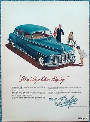1947 Dodge Navy Admiral Showing Children Dog Ship We're Buying Smoothest Car ad