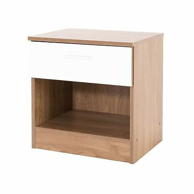 Ottawa Range Bedside Cabinet Table Lamp Side Desk W/ Drawer White Gloss & Oak