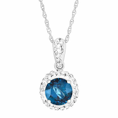 Crystaluxe September Pendant with Blue Swarovski Crystals in Sterling Silver