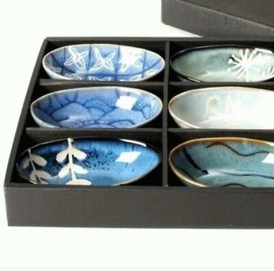 Gift Boxed Stoneware 6 Piece Bowl Dipping Dish Set Tropical Blue